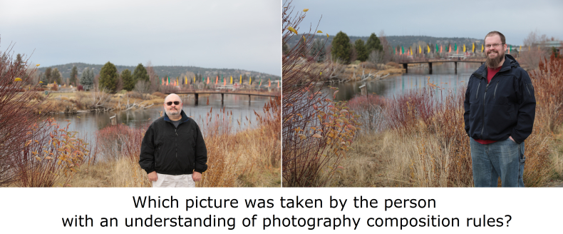 Image contains two pictures.  One is well composed.  On is not.